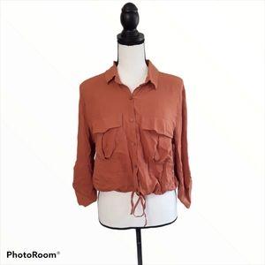 Pull&Bear Rust Cropped Button Down Shirt